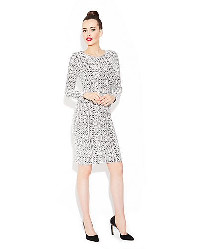 FITTED LONG SLEEVE OVERLAY DRESS BLACK-WHITE
