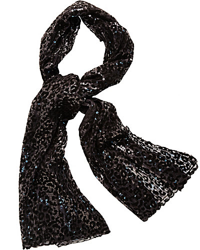 FLOCKED LEOPARD WRAP BLACK