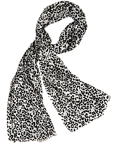 FLOCKED LEOPARD WRAP WHITE