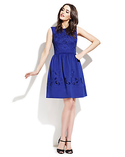 FLORAL CUTOUT DRESS BLUE