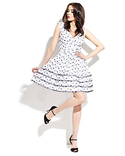FLORAL DOT GATHER WAIST DRESS WHITE-BLACK