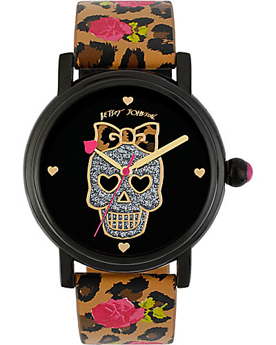 FLORAL LEOPARD SKULL WATCH MULTI