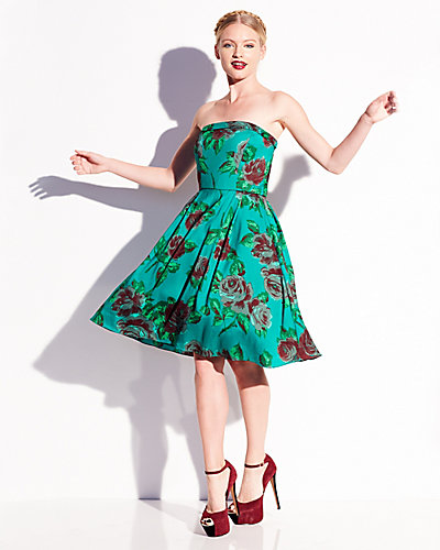 FLORAL STRAPLESS PARTY DRESS GREEN