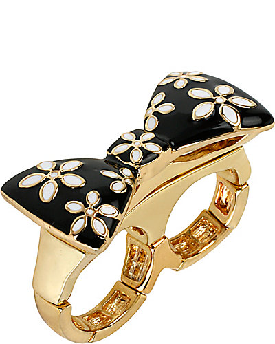 FLOWER BOW STRETCH RING BLACK-WHITE