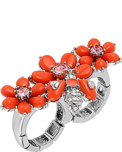 FLOWER BUG 2 FINGER RING CORAL