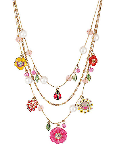 FLOWER LADYBUG MULTI CHARM NECKLACE MULTI