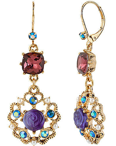 FLOWER MEDALLION CRYSTAL EARRING PURPLE