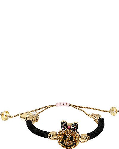 FRIENDSHIP SMILEY FACE BRACELET BLACK YELLOW