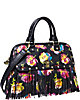 FRINGEY FLORAL DOME SATCHEL BLACK