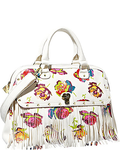FRINGEY FLORAL DOME SATCHEL OFF-WHITE