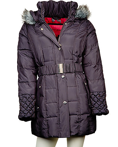 FUR TRIM BETSEY ANGEL DOWN COAT STEEL