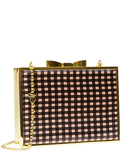 GINGHAM BOW LOCK FRAME CLUTCH BLACK