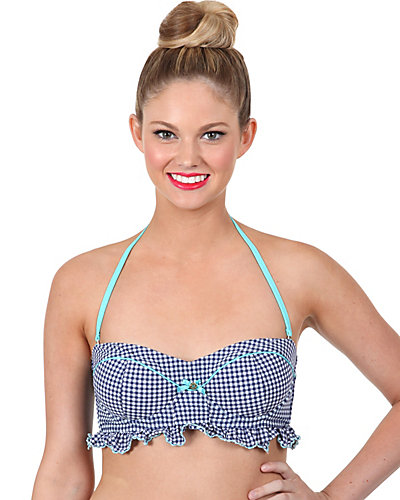 GINGHAM STYLE BANDEAU TOP NAVY