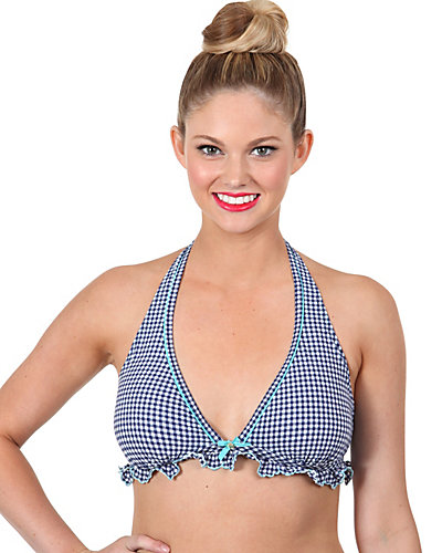 GINGHAM STYLE HALTER TOP NAVY