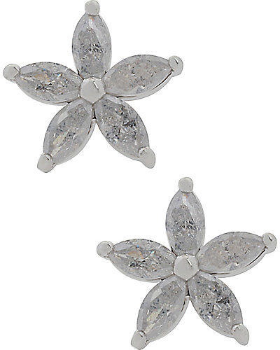 GIRLIE GRUNGE CRACKLED FLOWER STUD WHITE