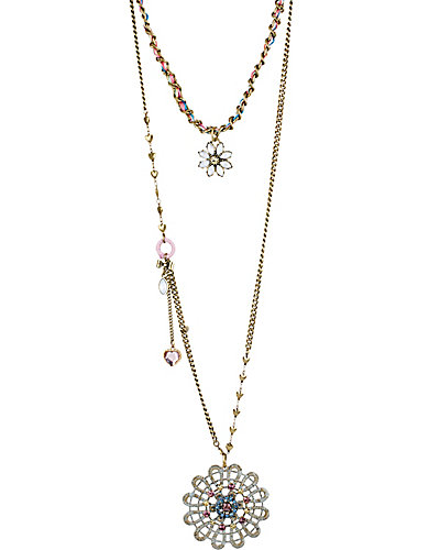 GIRLIE GRUNGE FLOWER 2 ROW NECKLACE MULTI