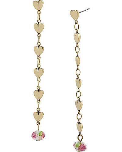 GIRLIE GRUNGE HEART LINEAR EARRING PINK