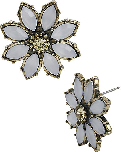 GIRLIE GRUNGE LARGE FLOWER STUD BLUE