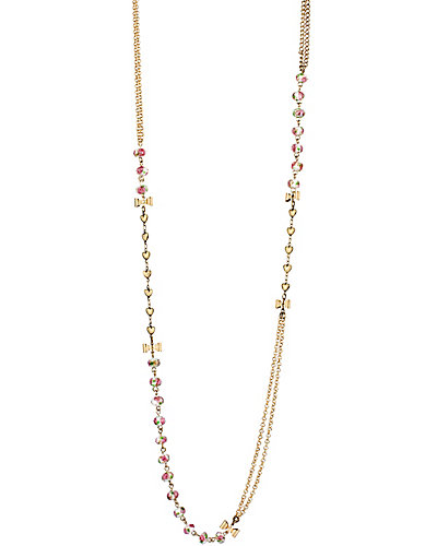 GIRLIE GRUNGE LONG BEAD NECKLACE PINK