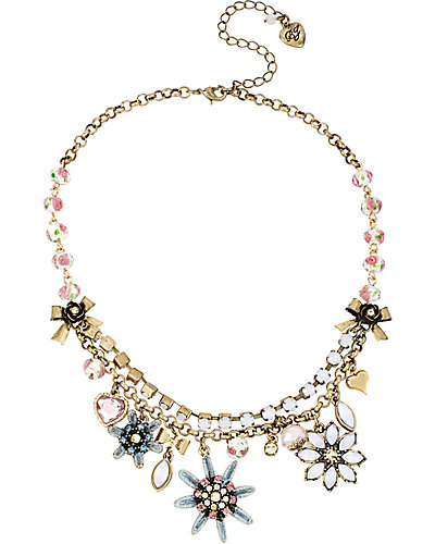 GIRLIE GRUNGE MULTI FLOWER NECKLACE PURPLE