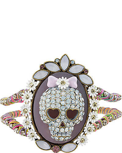 GIRLIE GRUNGE SKULL HINGE BANGLE PURPLE MULTI