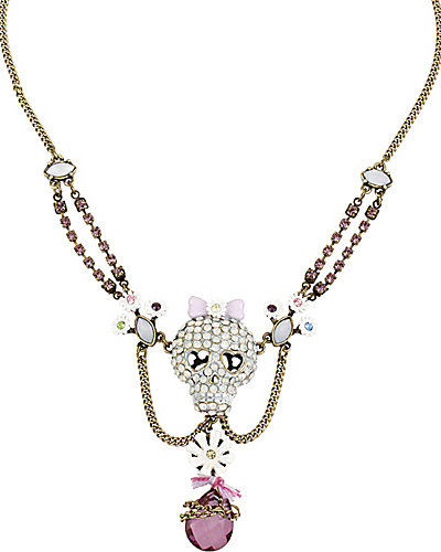 GIRLIE GRUNGE SKULL NECKLACE PURPLE MULTI