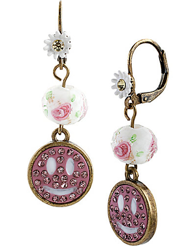GIRLIE GRUNGE SMILEY DROP EARRING PINK MULTI
