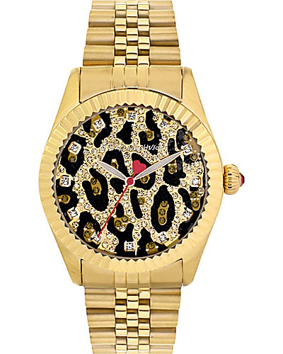 GLITTER LEOAPRD FACE GOLD WATCH GOLD