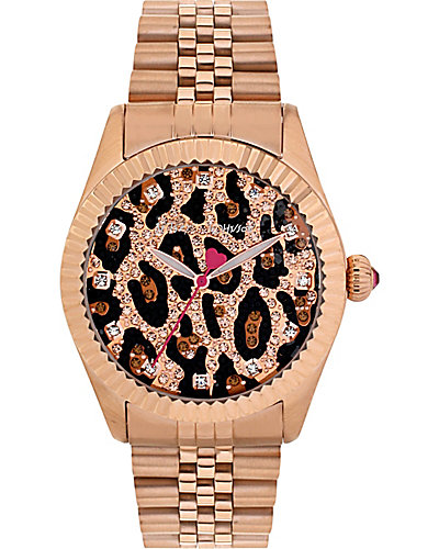 GLITTER LEOAPRD FACE WATCH ROSE GOLD