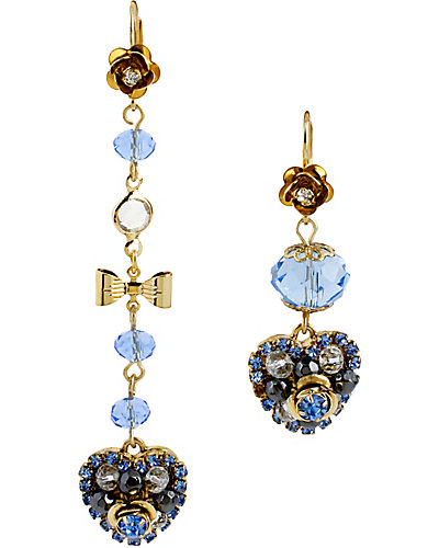 HANGING HEARTS BLUE DROP EARRING BLUE