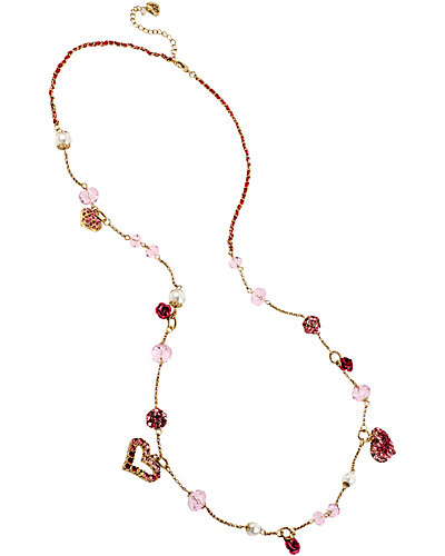 HANGING HEARTS PINK LONG NECKLACE PINK MULTI