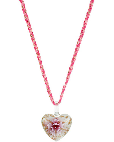 HEART BOOST GLASS FLOWER NECKLACE PINK