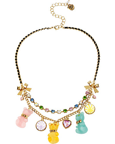 HEART CANDY BEAR CHARM NECKLACE MULTI