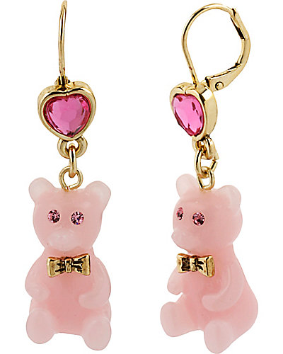 HEART CANDY BEAR DROP EARRNG PINK