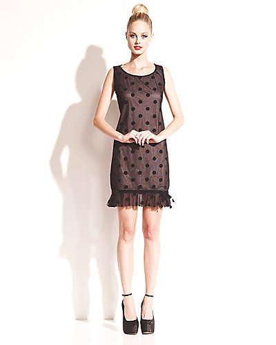 HEART CUT OUT DOTTED DRESS BLACK