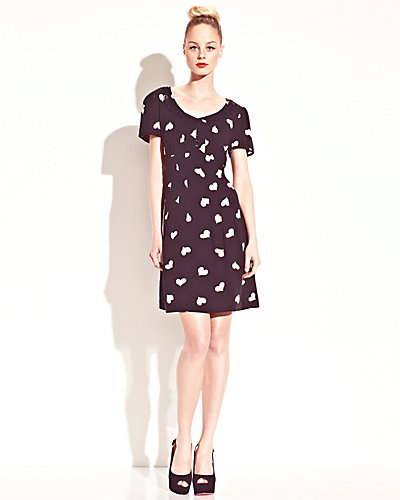 HEART PRINT TIE BACK DRESS BLACK