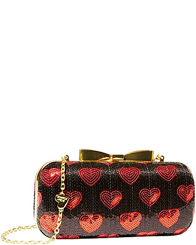 HEART SEQUIN CLUTCH BLACK RED