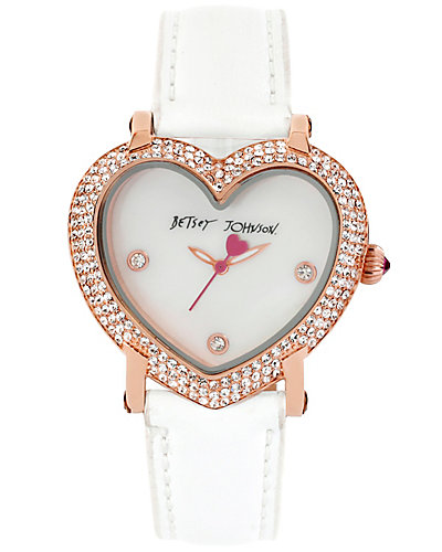 HEART SHAPED DIAL AND WHITE STRAP WHITE