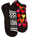 HEARTS DESIRE TWO PACK NO SHOW SOCK BLACK