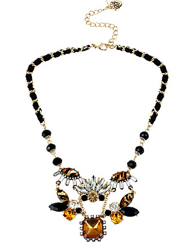 HOLLYWOOD GLAM CLUSTER NECKLACE LEOPARD