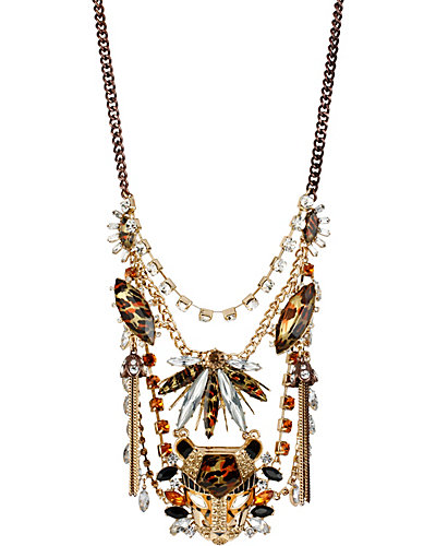 HOLLYWOOD GLAM CRYSTAL STONE NECKLACE LEOPARD