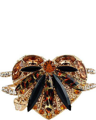 HOLLYWOOD GLAM HEART HINGE BANGLE LEOPARD