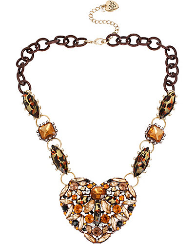 HOLLYWOOD GLAM HEART NECKLACE LEOPARD