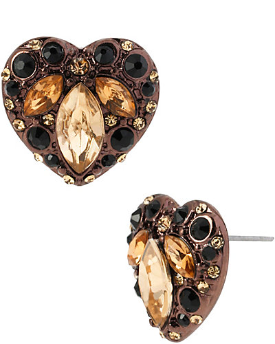 HOLLYWOOD GLAM HEART STUD MULTI
