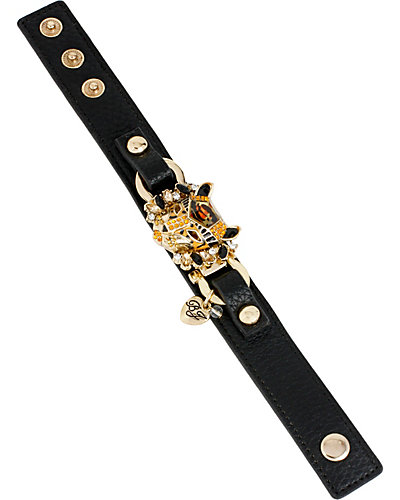 HOLLYWOOD GLAM LEATHER BRACELET BLACK