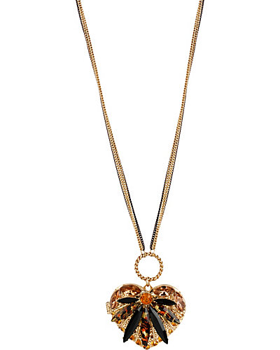 HOLLYWOOD GLAM LONG HEART PENDANT LEOPARD
