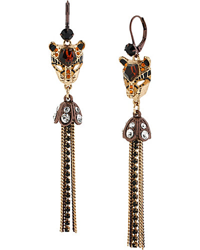 HOLLYWOOD GLAM TASSLE DROP EARRING LEOPARD