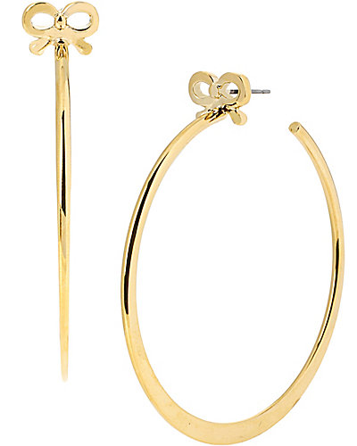HOOP EARRINGS WITH GOLD BOW GOLD