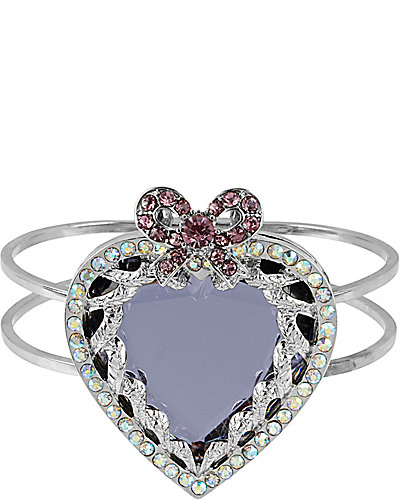 ICONIC AMETHYST HEART HINGE BANGLE PURPLE
