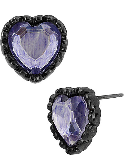 ICONIC AMETHYST HEART STUD PURPLE